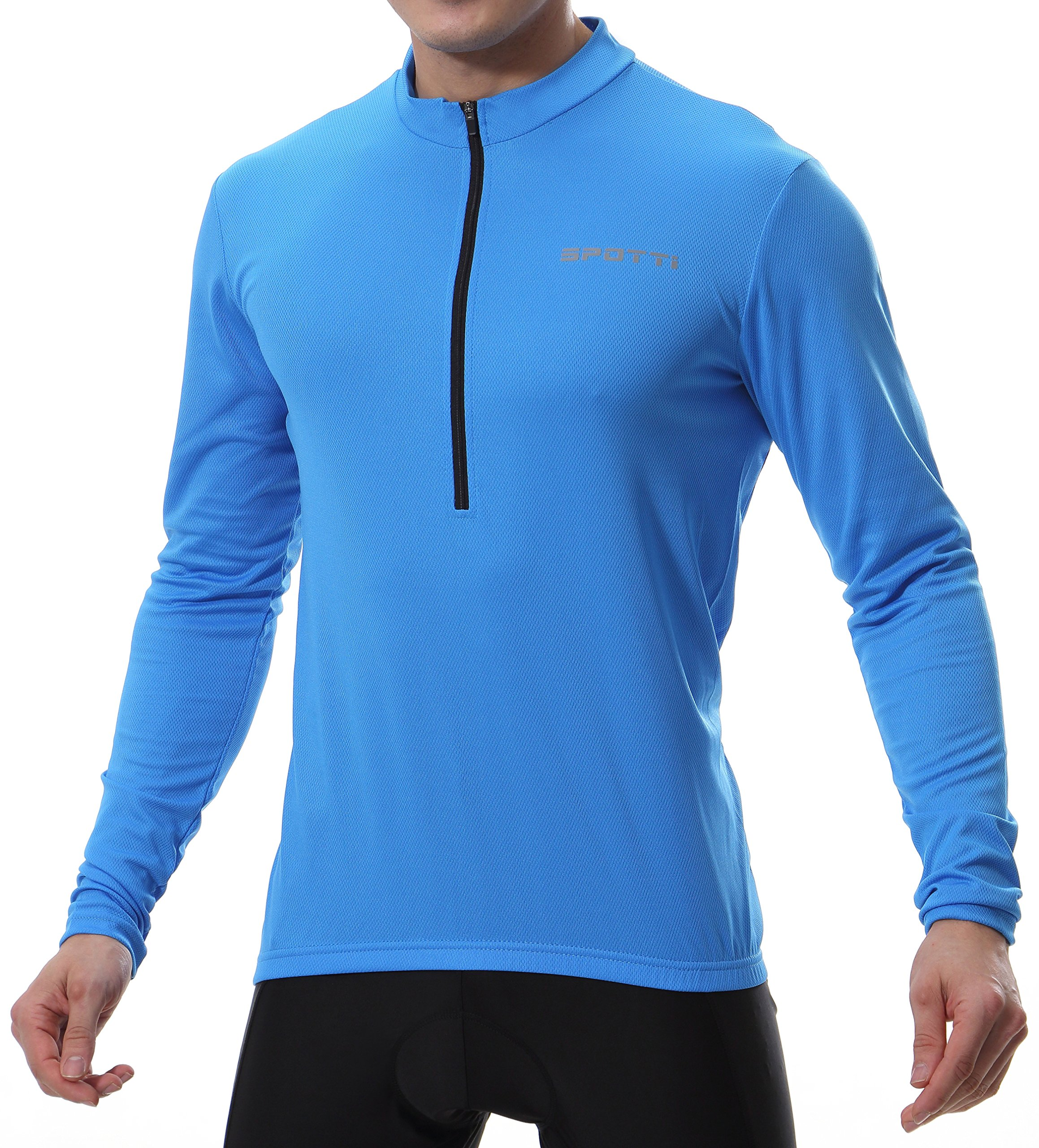 Spotti Men's Long Sleeve Cycling Jersey, Bike Biking Shirt- Breathable and Quick Dry (Chest 36-38 - S, Blue)