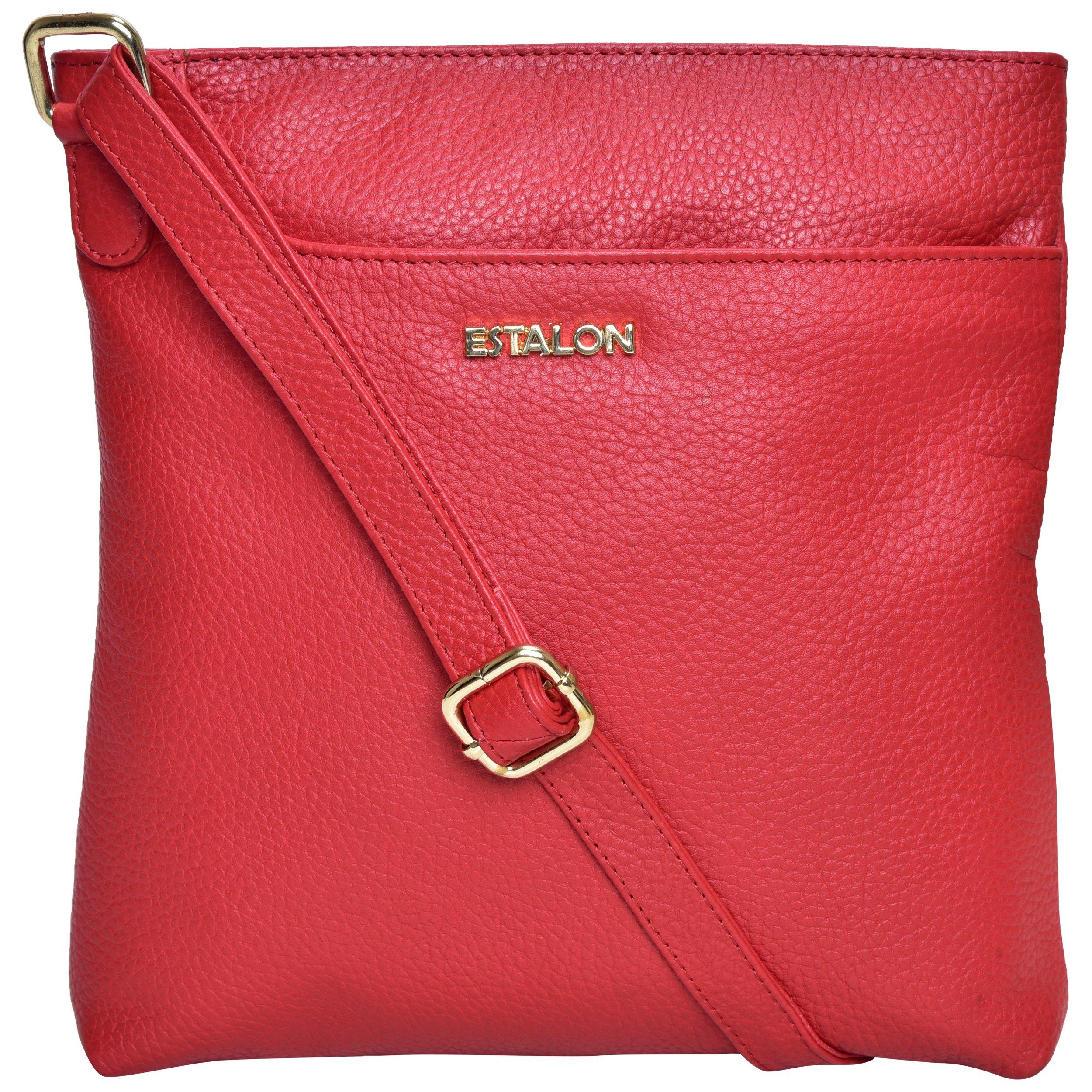 Premium Leather Crossbody Slim Bag for Women - Handmade Cross Body Over the Shoulder Purse Luxury Womens (Red Pebble)