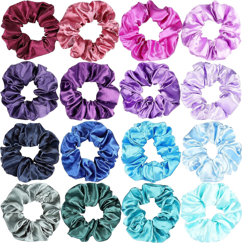 WATINC 60Pcs Colorful Silk Satin Scrunchy Set Strong Elastic Bobble Hair...