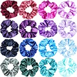 WATINC 16Pcs Silk Satin Hair Scrunchies Mermaid Party Hair Scrunchie Accessories Strong Elastic Hair Bobbles for Ponytail Holder Solid Color Scrunchy Ropes Colorful Traceless Hair Ties for Women