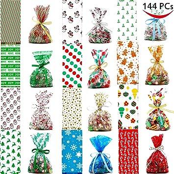 144 pcs christmas cellophane goody bags assortment for christmas holiday treats bags christmas party favors