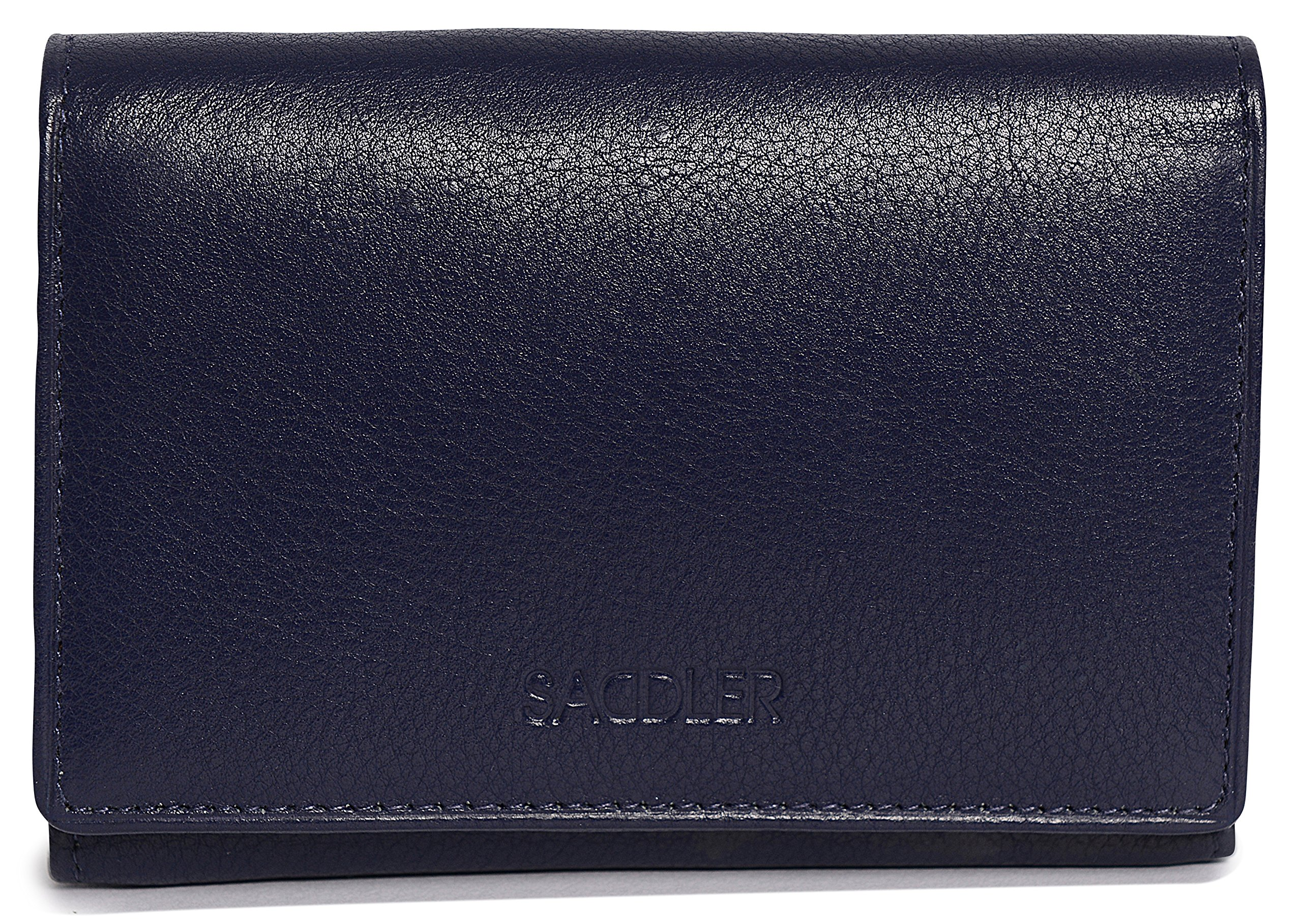 SADDLER Womens Leather Double Flap Coin Purse Trifold Wallet - Peacoat Blue by Saddler (Image #2)