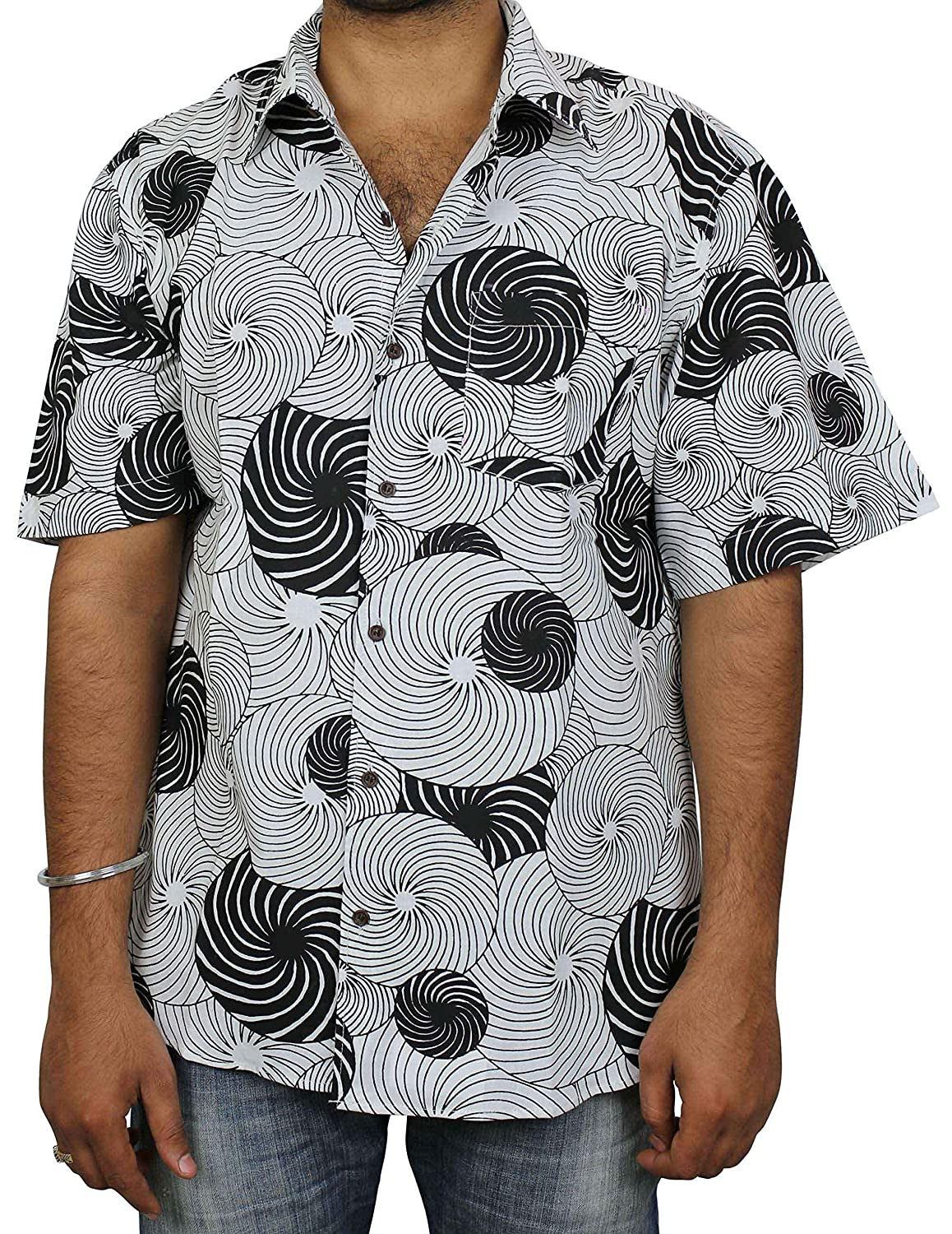 e01527de01 ShalinIndia Indian Beach Wear Cotton Printed Fashion Accessory for Men  Shirt Comfortable Airy: Amazon.in: Clothing & Accessories