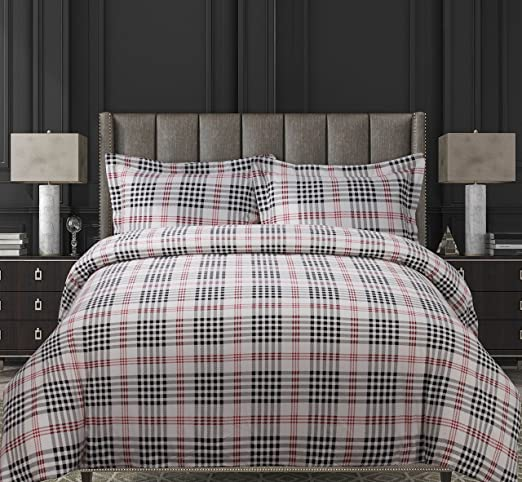 Printed Flannel 3 Piece Abstract Paisley Duvet Cover Set by Tribeca Living