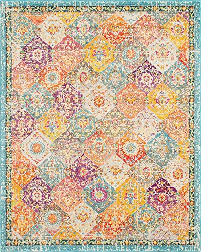 Unique Loom Penrose Collection Distressed Traditional Vintage Multi Area Rug 8 0 x 10 0