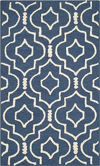 Amazon Com Safavieh Cambridge Collection Cam141g Handmade Moroccan Premium Wool Area Rug 3 X 5 Navy Blue Ivory Furniture Decor