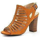 DREAM PAIRS Women's Mumbai Mid Chunky Heel Pump Sandals