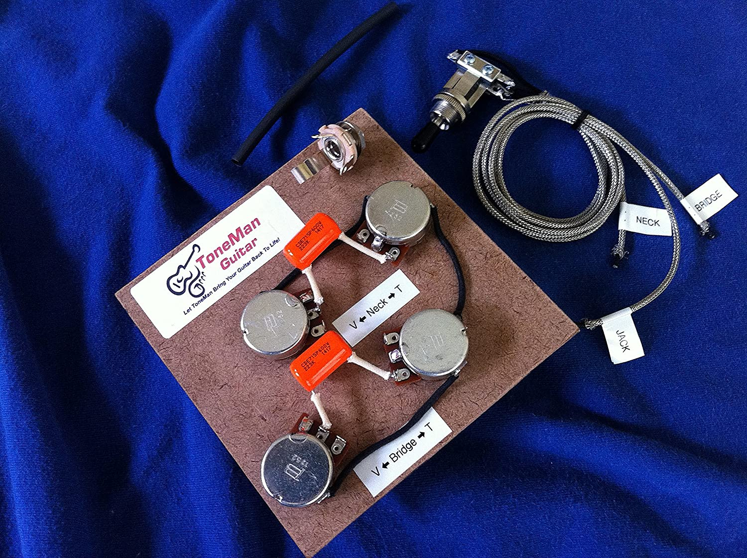 Amazon.com: Les Paul Prewired 50s Wiring Harness using Long Shaft Pots  .022uf Orange Drop Tone Caps with 3 Way Switch Harness: Musical InstrumentsAmazon.com