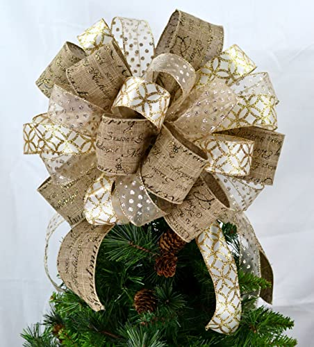 tree topper bows christmas tree bow topper christmas tree bow ivory cream burlap - Christmas Tree Bows