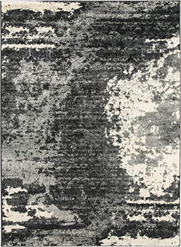 Ashley Furniture Signature Design – Roskos Large Rug – Black White Charcoal