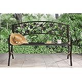 Sunjoy L-PB153PST Maple Leaf Steel Frame Patio Garden Park Bench - Black
