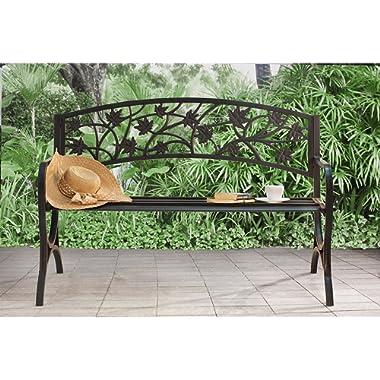 Sunjoy Maple Leaf Steel Frame Patio Garden Park Bench - Black