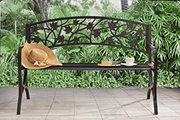 Sunjoy L PB153PST Maple Leaf Steel Frame Patio Garden Park Bench   Black