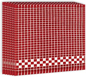 Fecido Classic Dark Color Cotton Terry Kitchen Dish Cloths with Hanging Loop (12 x 12 Inches) - Set of 6, Red