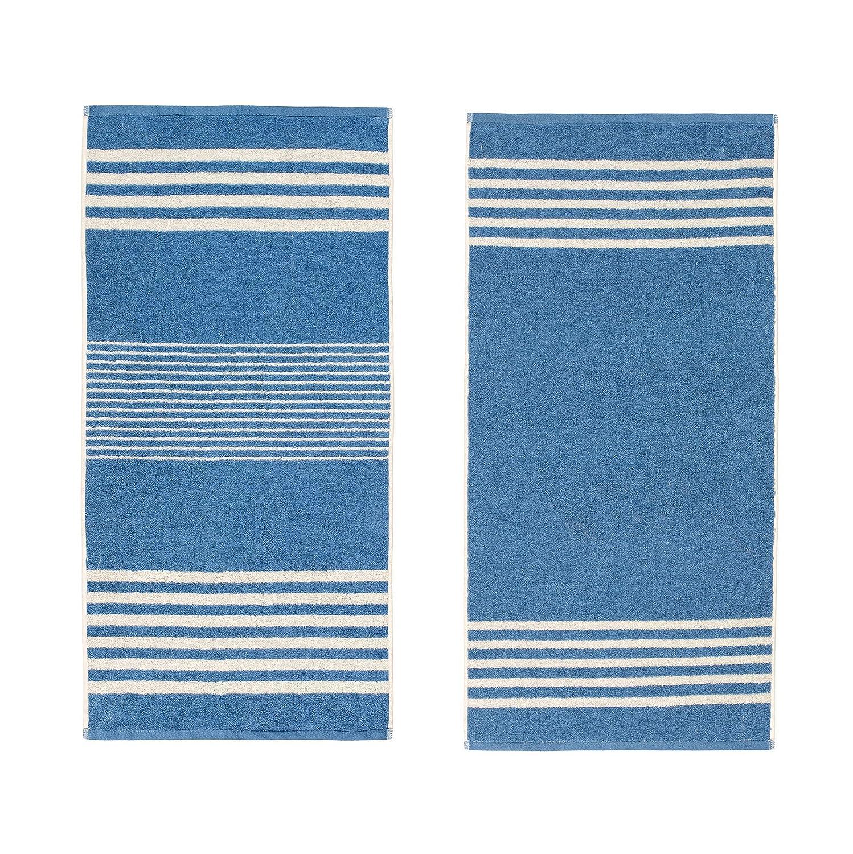 Elle Textiles & Personal Care - Guest Towels, Striped - Set of 2-30 x 50cm, 450gsm