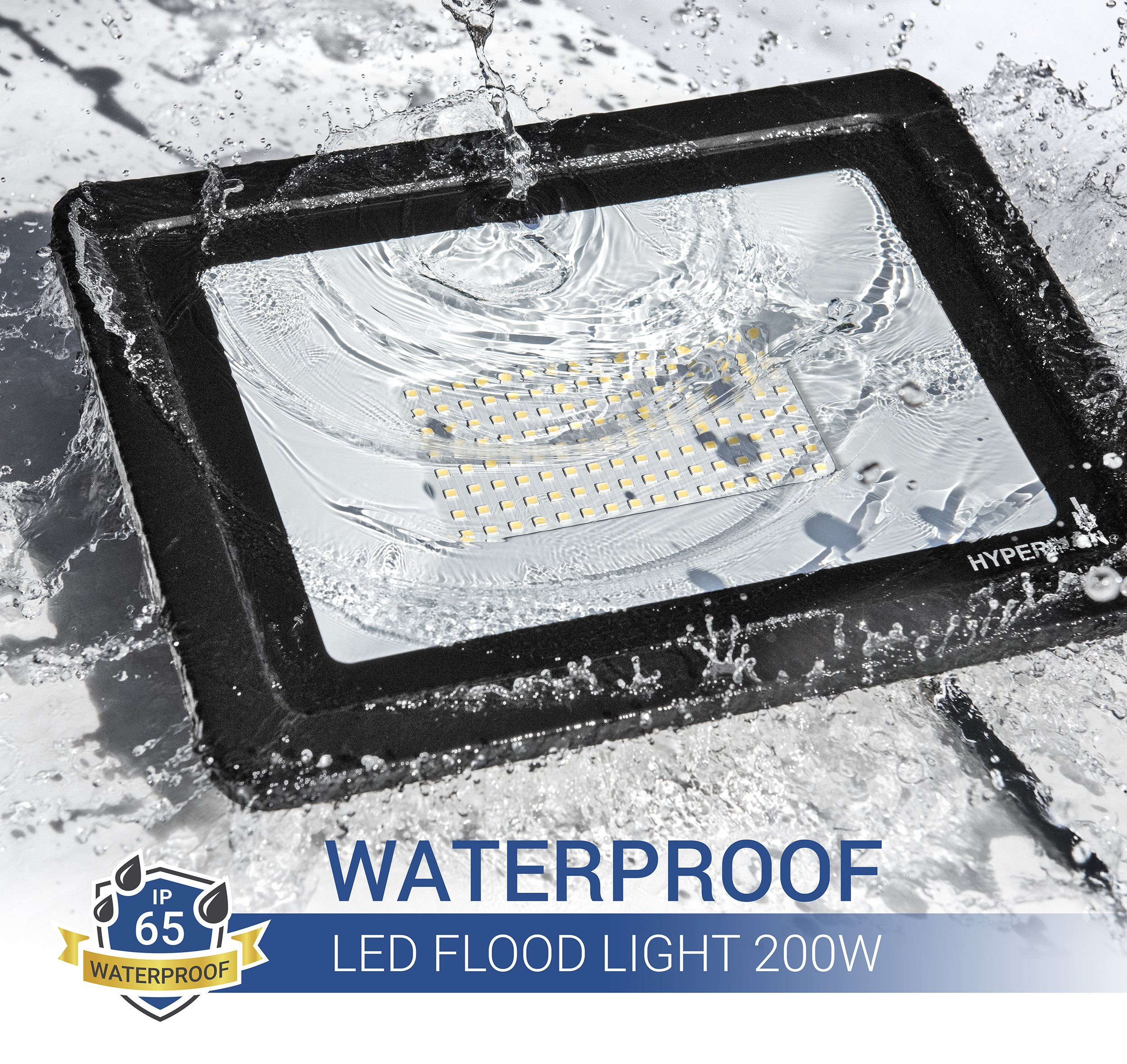 Hyperikon LED Flood Light 200W (1000 Watt Eq.) 180° Rotatable Bracket, 5000k,16000 Lm, Super Bright Outdoor LED Floodlight, Weatherproof IP65, Suitable for Dry and Damp Locations, 110V, 2-Pack by Hyperikon (Image #3)