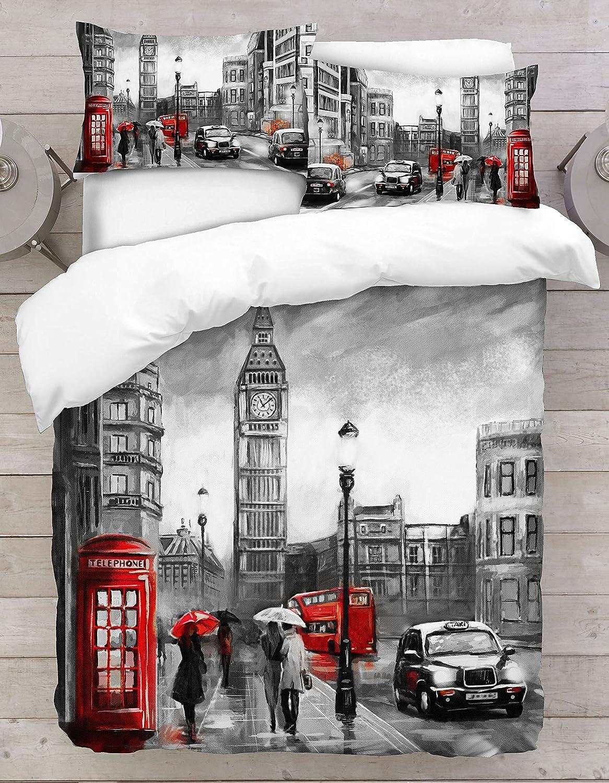 Individual S/úper Rey Doble Rey Adam Home 3D Cubierta n/órdica de impresi/ón Digital Emperador London Big Ben