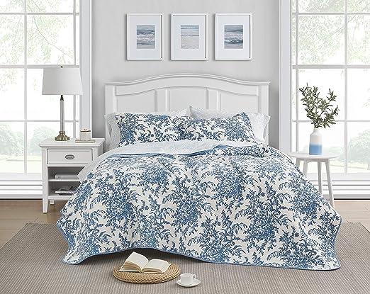 Laura Ashley 185747 Bedford Cotton Reversible Quilt Set Full Queen Blue Amazon Ca Home Kitchen