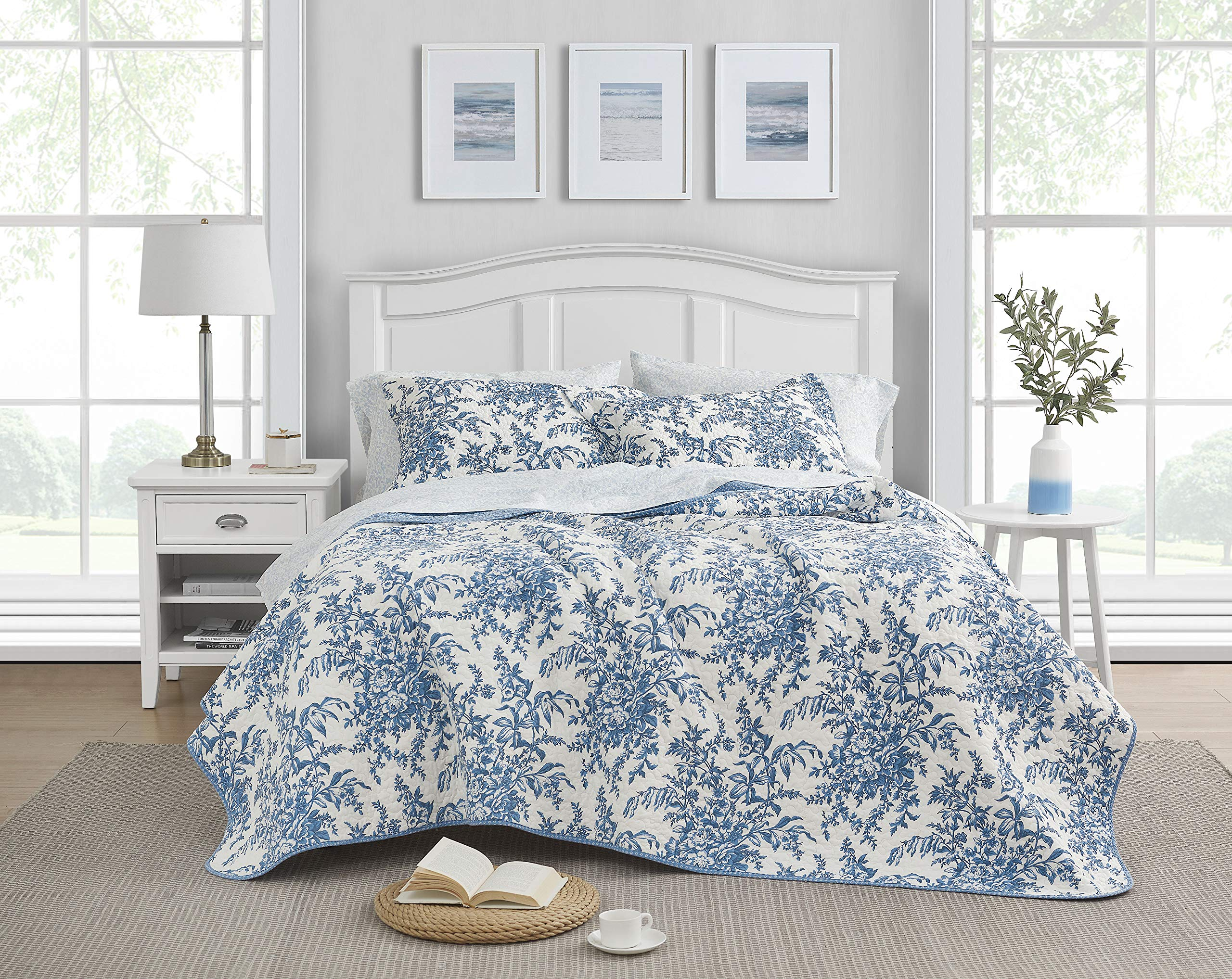 Laura Ashley Home Bedford Collection Luxury Premium Ultra Soft Quilt Set, Comfortable & Stylish, All Season Bedding, King, Delft