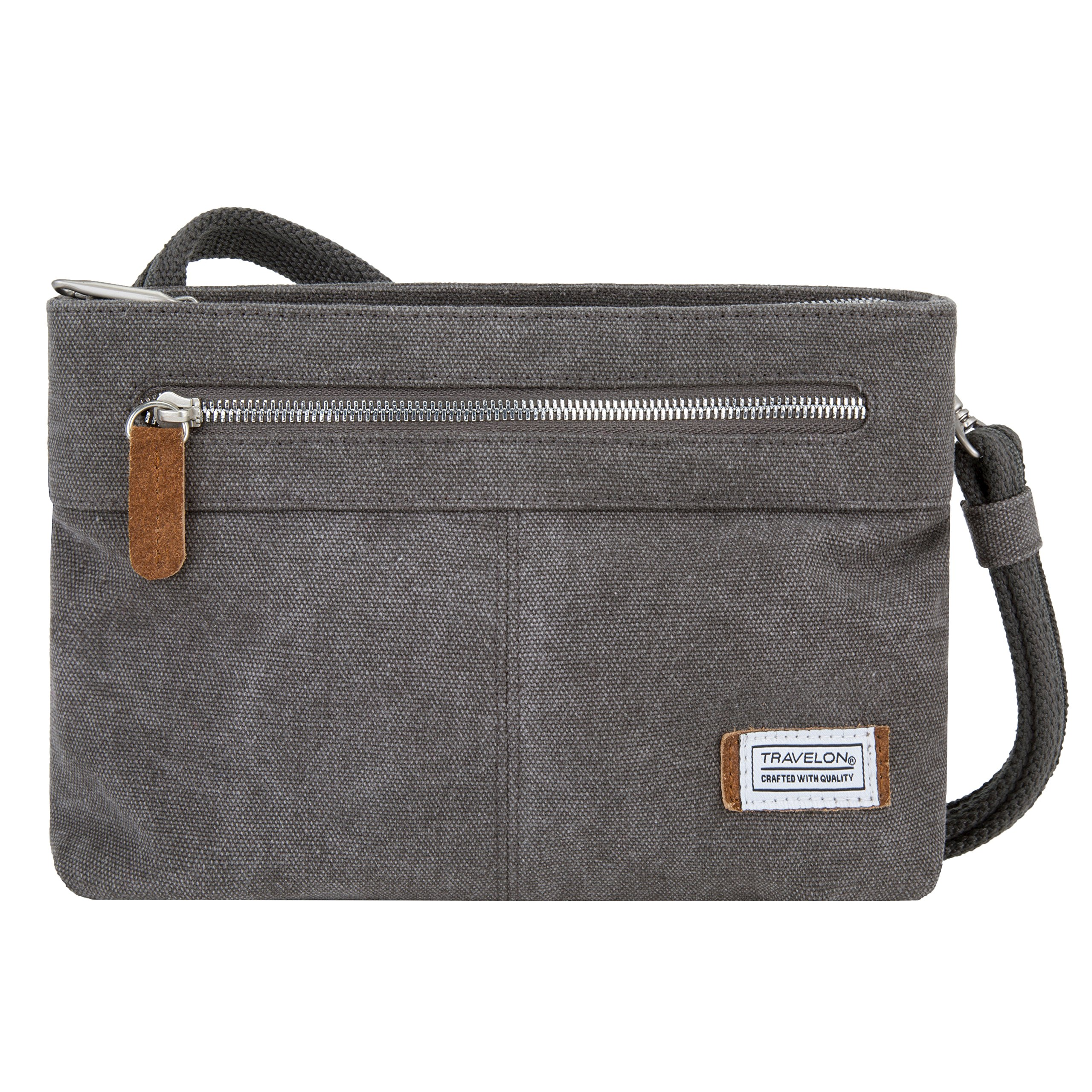 Travelon Women's Anti-Theft Heritage Small Crossbody Cross Body Bag, Pewter, One Size
