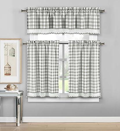 DUCK RIVER TEXTILES - Queenston Checkered Kitchen Window Curtain Tier Valance Set, 2 29 x 36 | 1 58 x 15, Grey