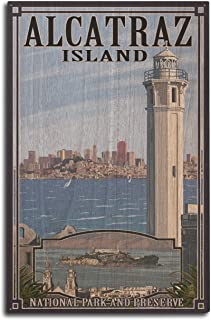 product image for Lantern Press San Francisco, California - Alcatraz Island and City (10x15 Wood Wall Sign, Wall Decor Ready to Hang)