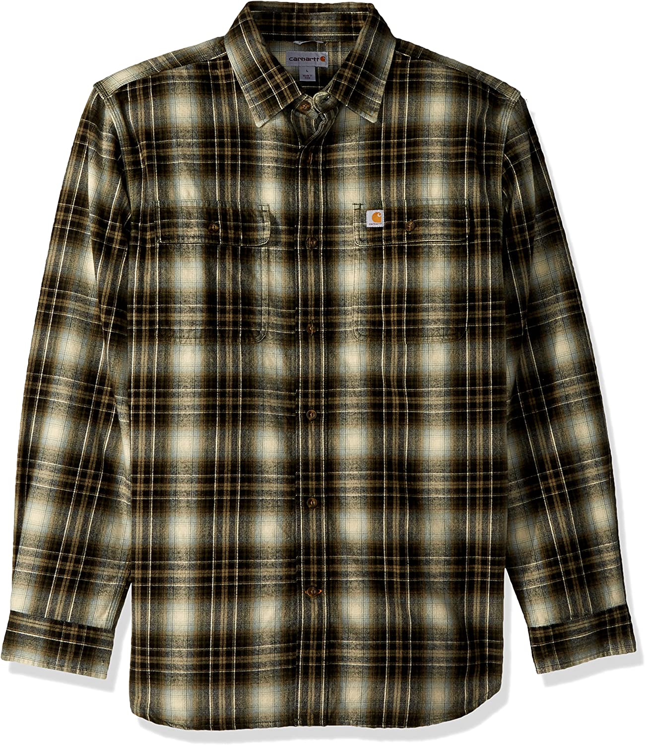Carhartt Mens Hubbard Plaid Flannel Shirt, Burnt Olive, Small: Amazon.es: Ropa y accesorios