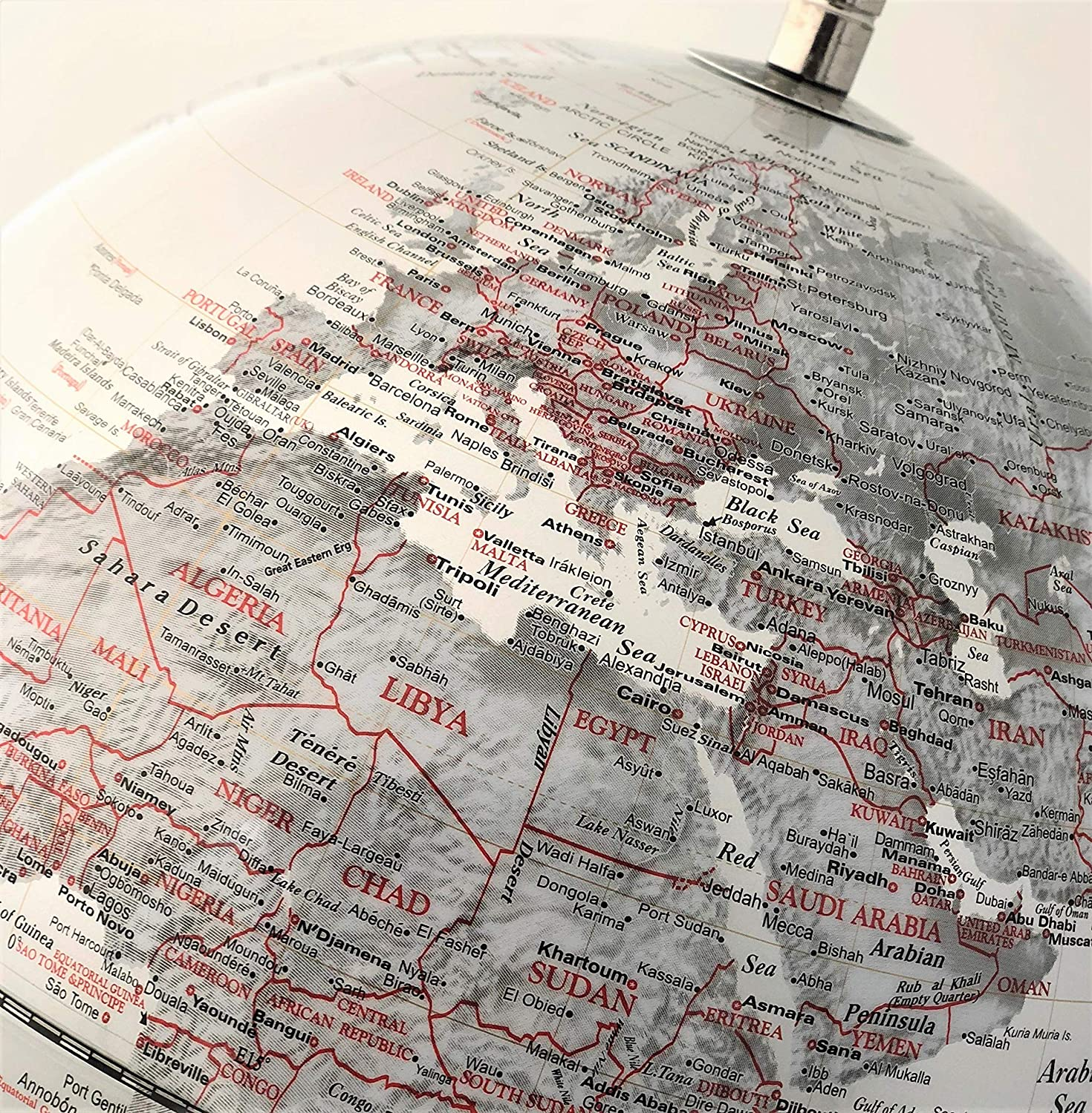 Pink Educational//Geographic//Modern Desktop Decoration Exerz 25CM World Globe with Stainless Steel Base