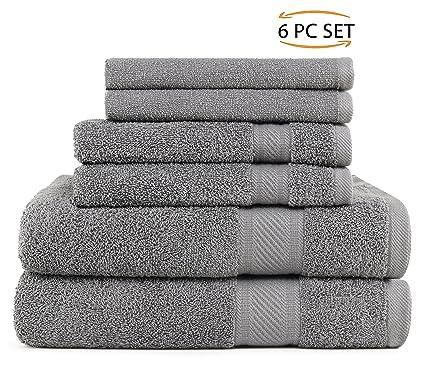 SweetNeedle - Uso diario Juego de toallas de 6 piezas, Carbón - 2 toallas de