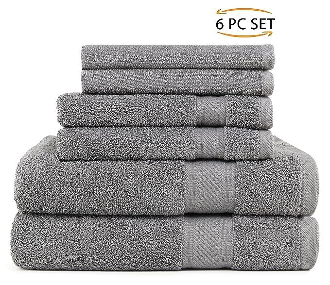 SweetNeedle - Uso diario Juego de toallas de 6 piezas, Carbón - 2 toallas de baño 68x126 CM, 2 toallas de mano 40x70 CM, 2 paño de lavado 30x30 CM - Algodón ...