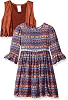 Youngland Little Girls' Dress With Fringed Vest