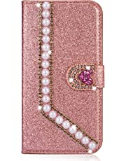 Miagon Diamond Case for Huawei P30,Luxury Glitter Rhinestone Pearl Heart PU Leather Folio Flip Wallet Cover Magnetic Closure Card Slots,Rose Gold