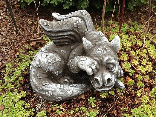 Figura de piedra Figura Dragón Fantasía Jardín Decoración Jardín de piedra figuras Dragón piedra Figura Dragón Fantasía Figura decorativa para jardín (piedra fundido jardín figuras Dragón: Amazon.es: Jardín