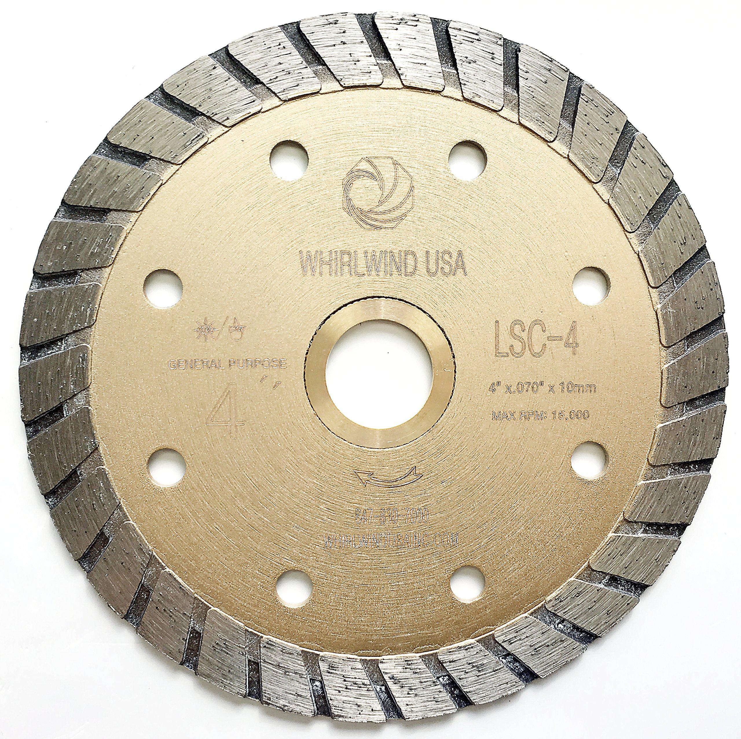 Disco de Diamante WHIRLWIND LSC - Corte en seco o en húmedo de 4 pulg. Propósito general Sierra de potencia turbo contin