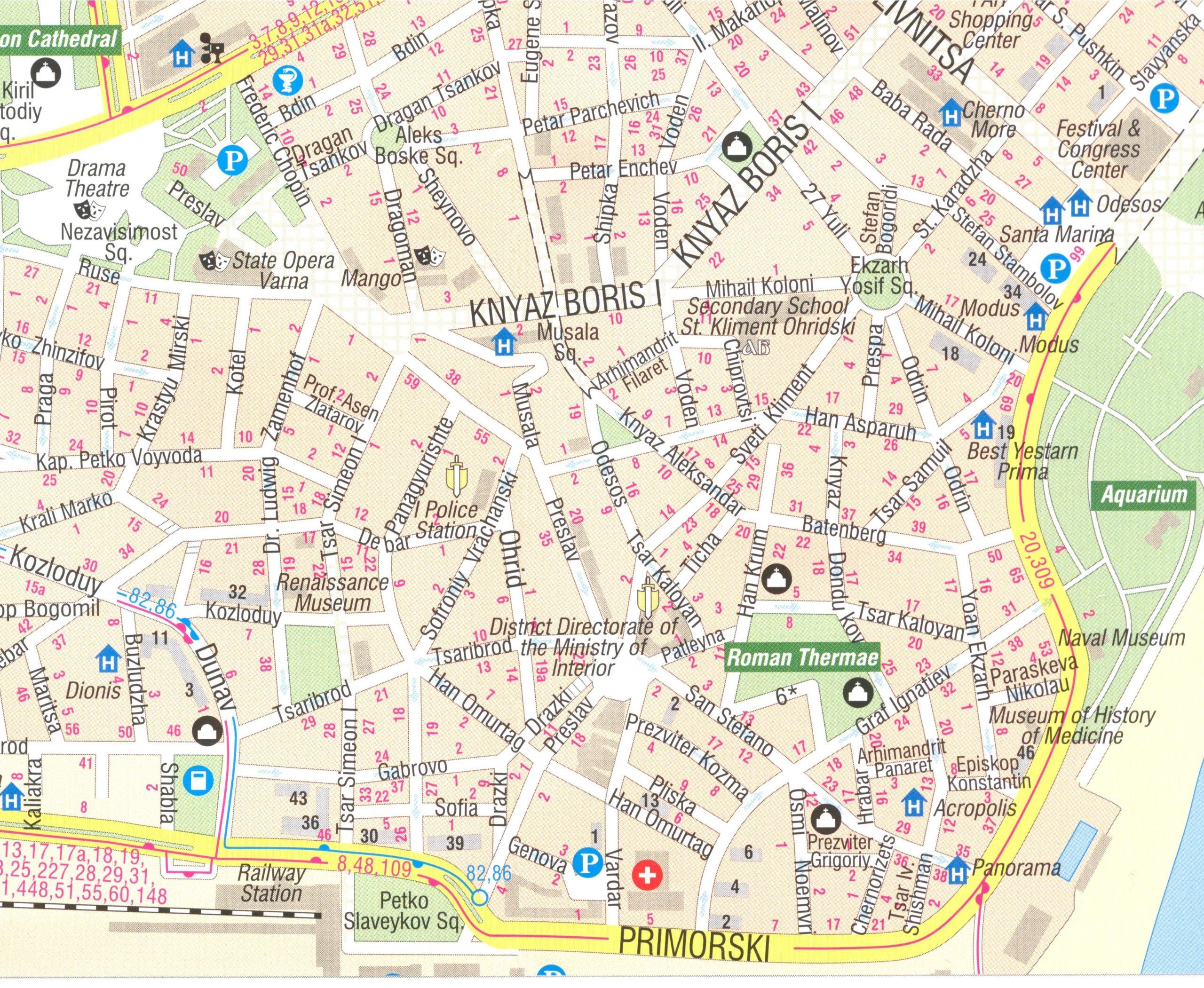 Varna Bulgaria Street Map With Albena Golden Sands - Varna map
