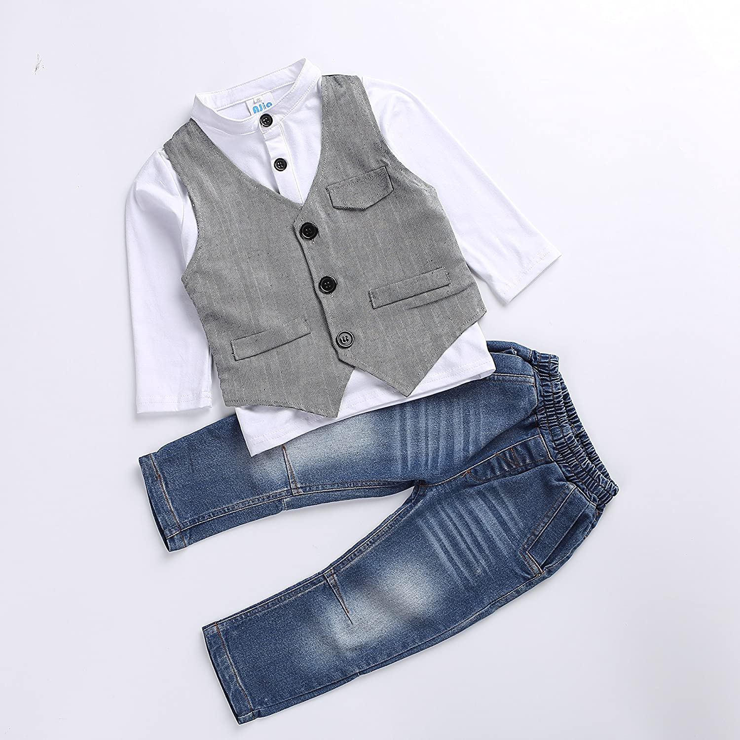 Cute Kids Boys Clothing Shirt and Vest Jeans Sets for 2 to 5 Years Toddler Boy Ajia