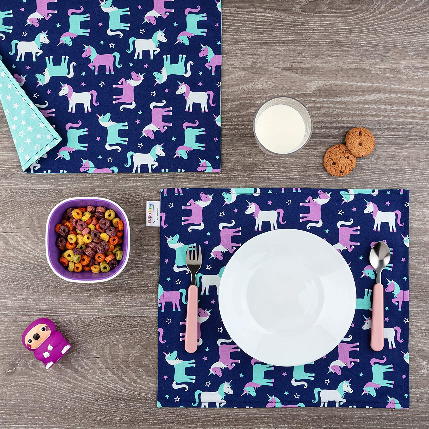 """Eco-Friendly Set of 2 Machine Washable FUN KINS Funkins Cloth Placemats for Kids 15/"""" x 13/"""" 2-ply Ballerinas Reusable"""