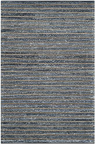 Safavieh Cape Cod Collection CAP363A Hand Woven Blue and Natural Jute and Cotton Area Rug 5 x 8