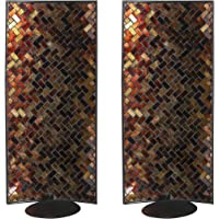 Whole Housewares Decorative Metal Wall Candle Sconce - Mosaic Glass Set of 2 Pack (Antumn Leaves)