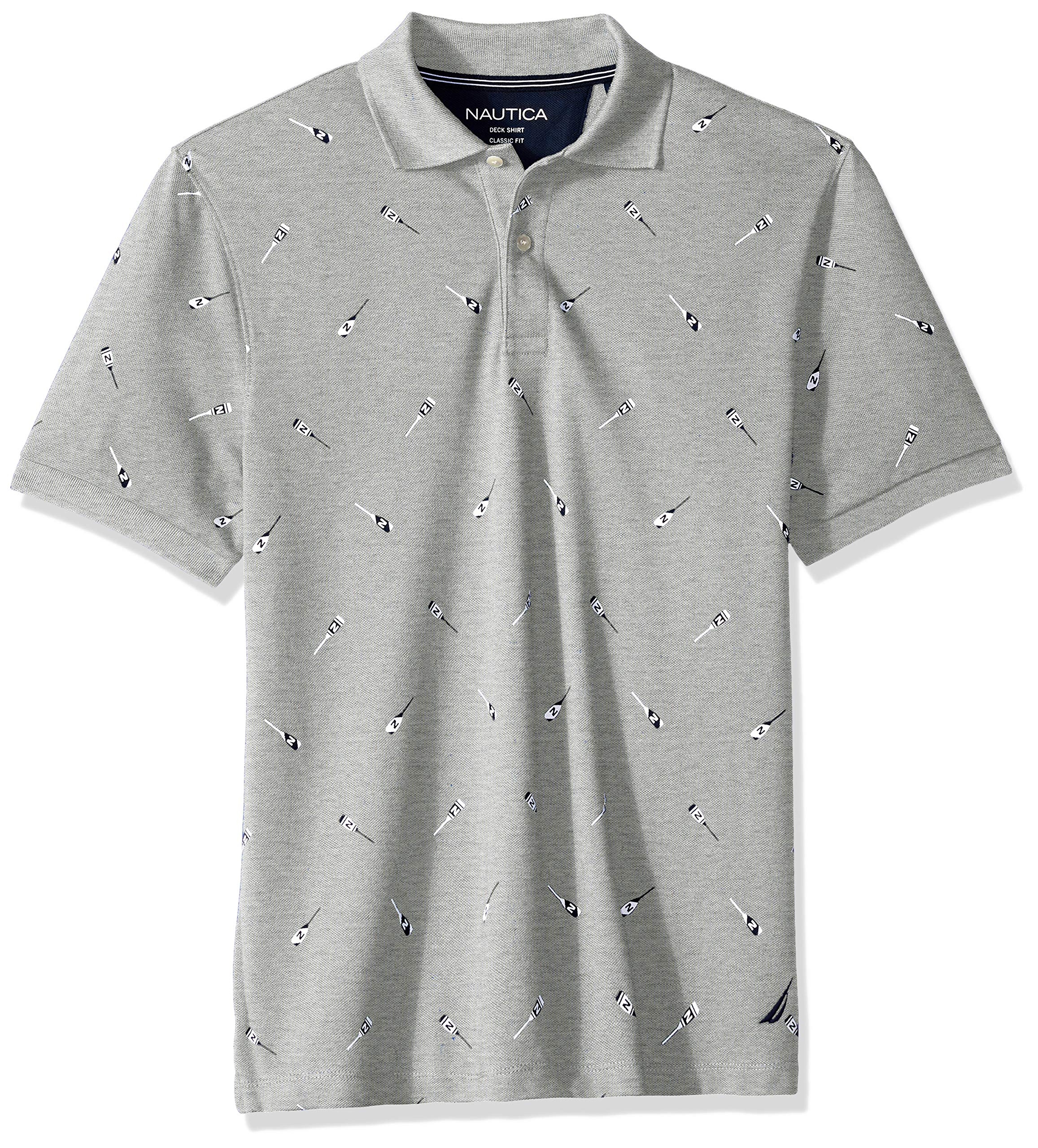 Nautica Men's Classic Short Sleeve Solid Polo Shirt, Grey Heather 003, Medium