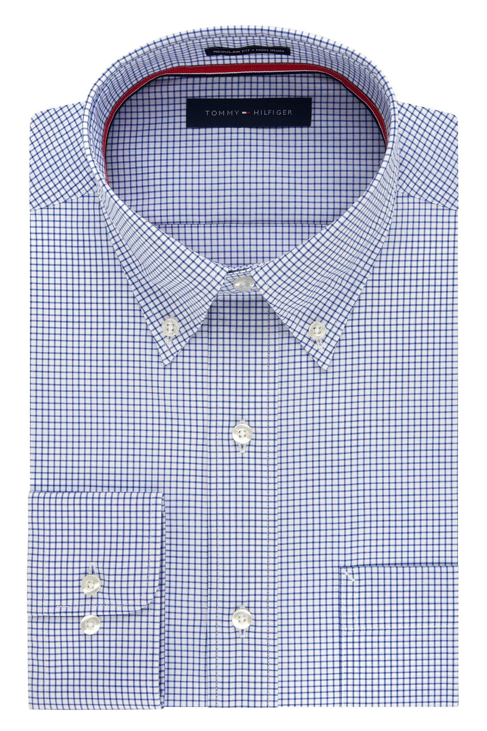 Tommy Hilfiger Men's Long Button Down Shirt, Empire Blue, 18.5'' Neck 34''-35'' Sleeve