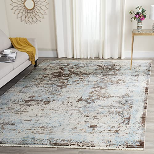 Safavieh Vintage Persian Collection VTP417T Traditional Oriental Brown and Light Blue Area Rug 8 x 10