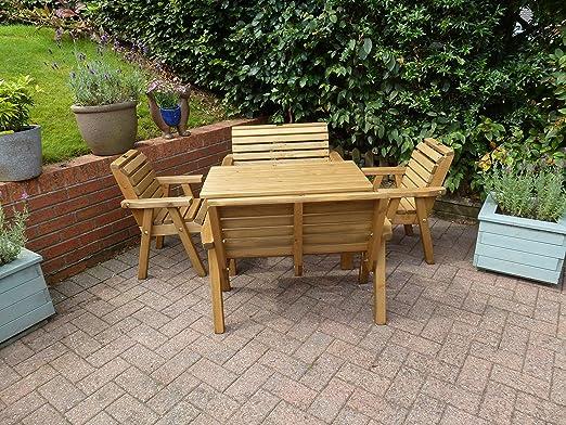 Juego de Patio de madera mamamemo - muebles de madera maciza de jardín al aire libre: Amazon.es: Jardín