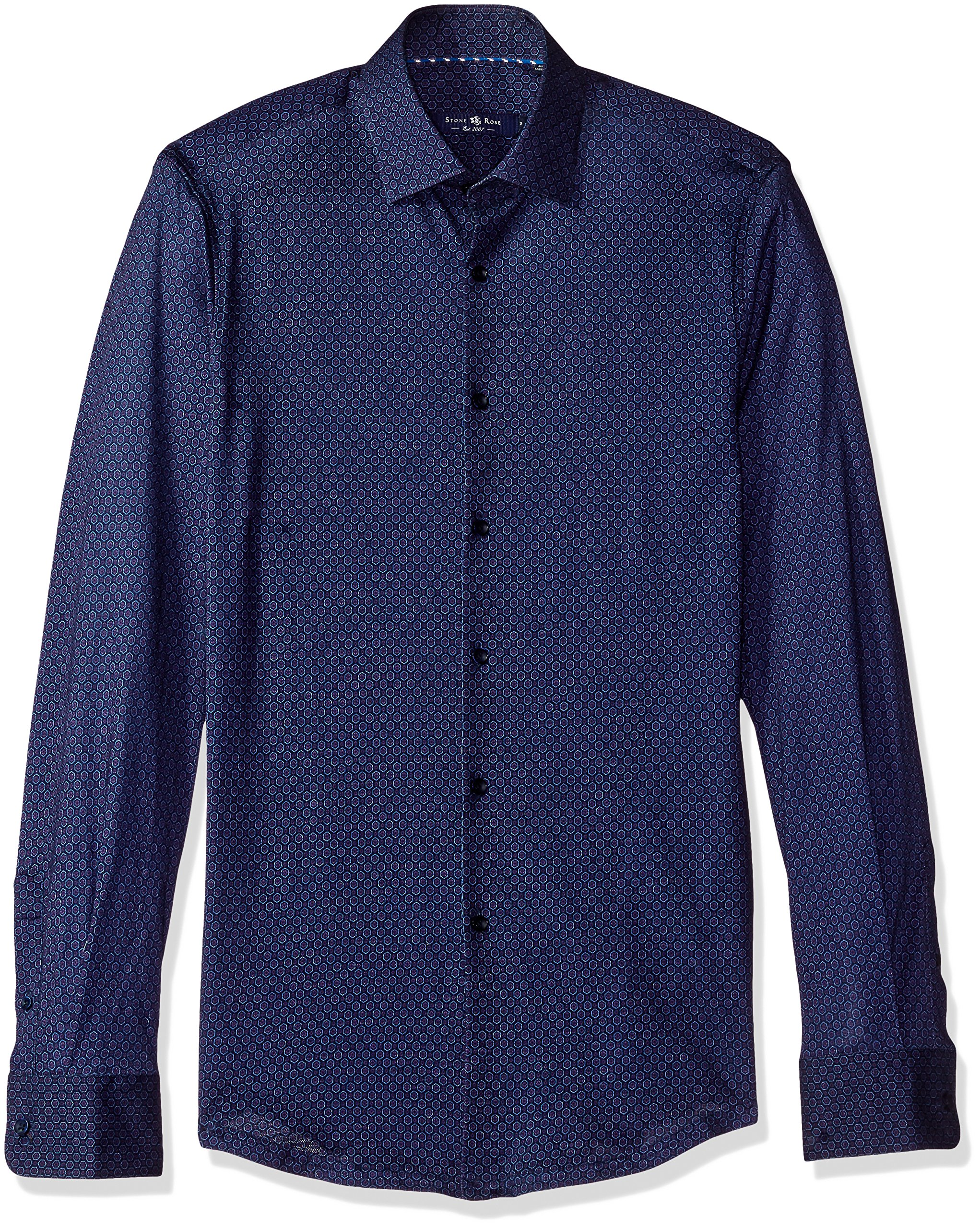 Stone Rose Men's Honeycomb Geo Knit Print Button Down Shirt, Navy, X-Large