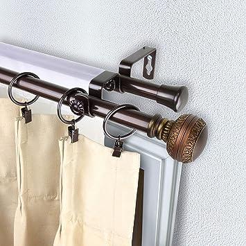 Rod Desyne Ornament Double Window Set Curtain Rod Cocoa 28-48