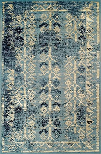 Superior Havoc Collection Area Rug, 10mm Pile Height with Jute Backing, Fashionable and Affordable Rugs, Distressed Vintage Moroccan Rug Design – 5 x 8 Rug, Blue, Cream, and Black