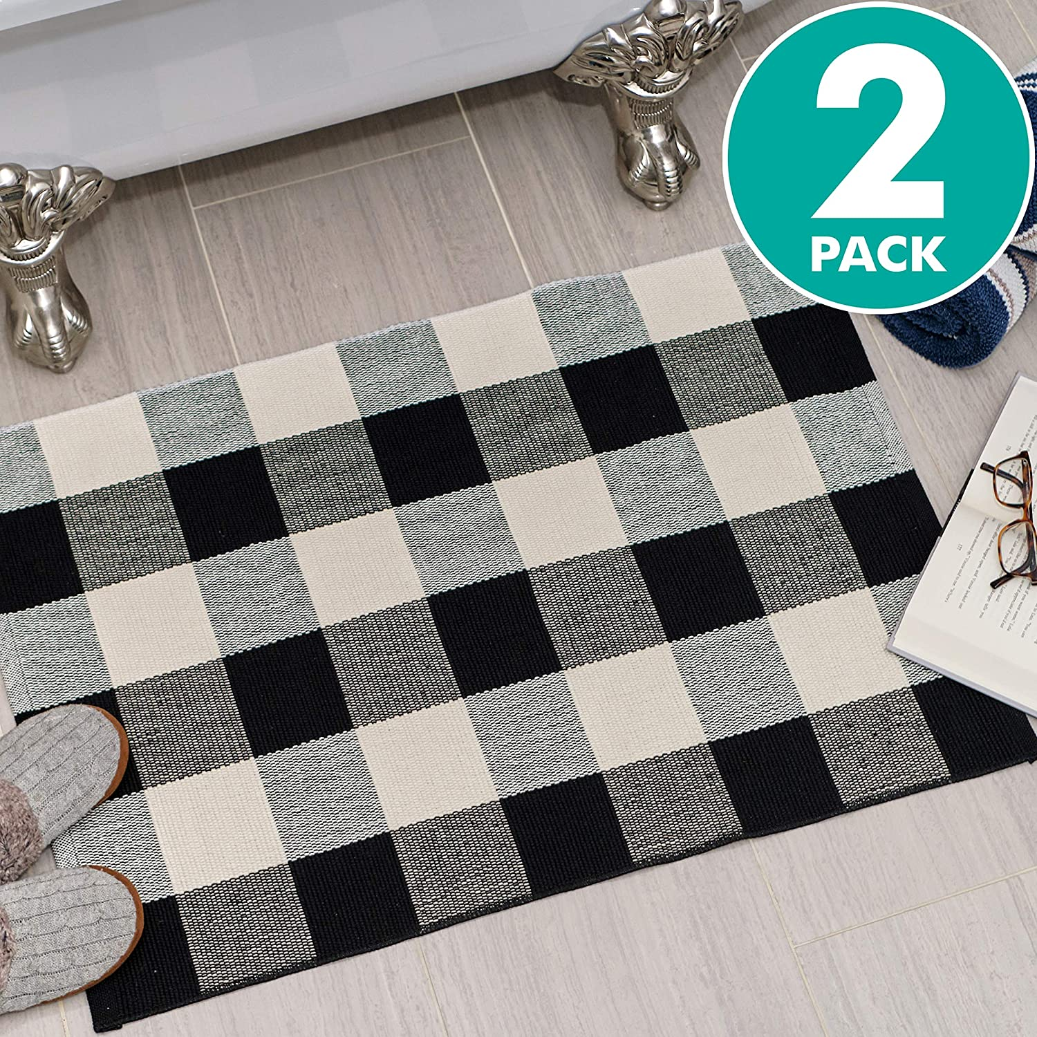 "Sierra Concepts 2-Pack Buffalo Plaid Check Rug Door Mat, 35"" x 24"" Cotton Black/White Indoor Outdoor Layered Front Porch Décor Area, Farmhouse Checkered Rugs Woven - Floor, Laundry, Kitchen, Bathroom"