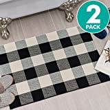"""Sierra Concepts 2-Pack Buffalo Plaid Check Rug Door Mat, 35"""" x 24"""" Cotton Black/White Indoor Outdoor Layered Front Porch Décor Area, Farmhouse Checkered Rugs Woven - Floor, Laundry, Kitchen, Bathroom"""