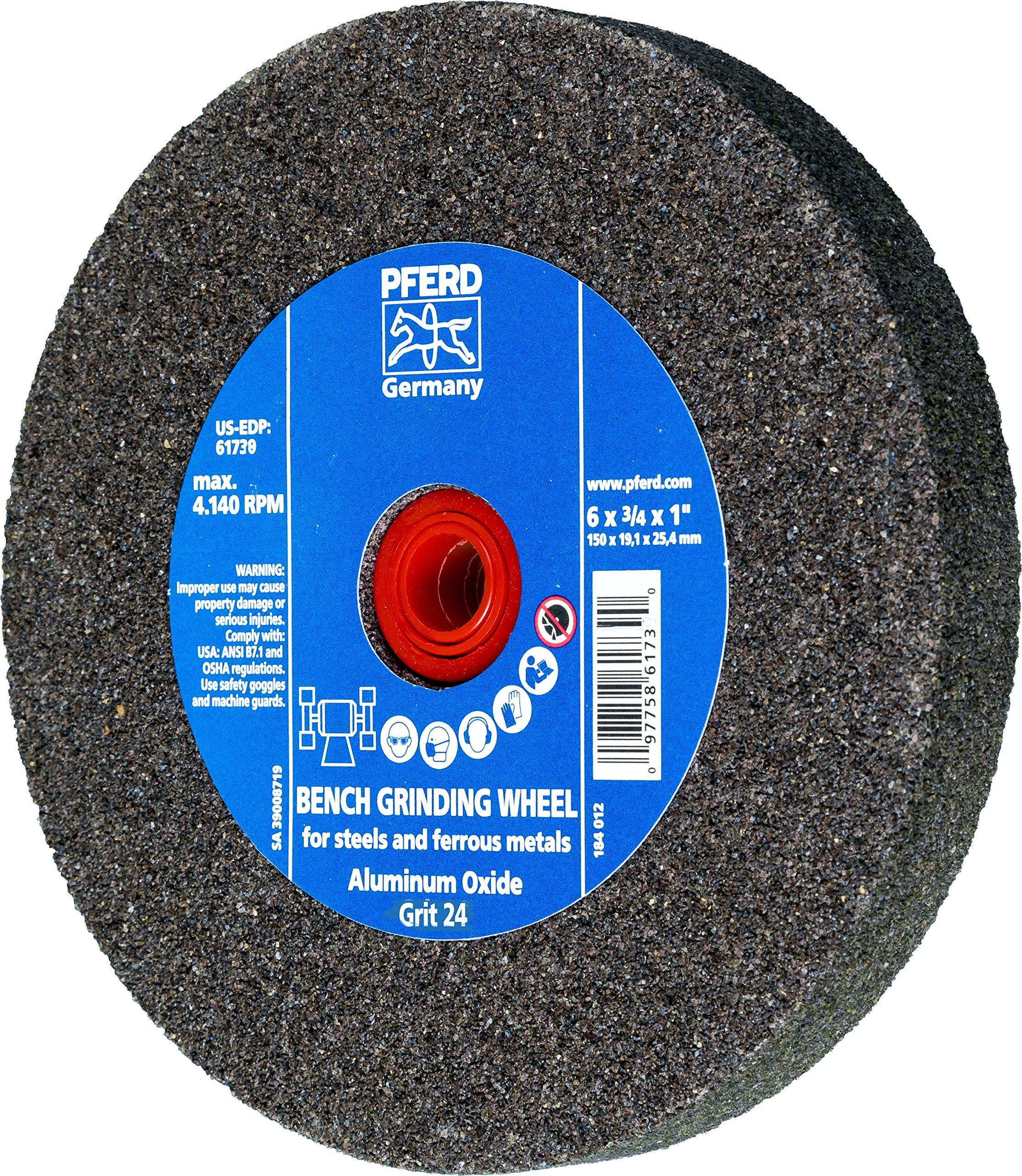 PFERD 61738 Bench Grinding Wheel, Aluminum Oxide, 6'' Diameter, 3/4'' Thick, 1'' Arbor Hole, 24 Grit, 4140 Maximum RPM