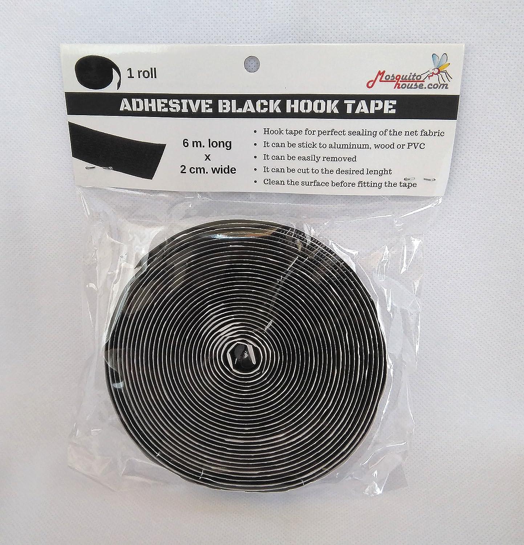 MosquitoHouse - Cinta autoadhesiva blanca macho (Negra). 6 metros larga por 2 cm de ancho. Recambio cinta tela de mosquitera